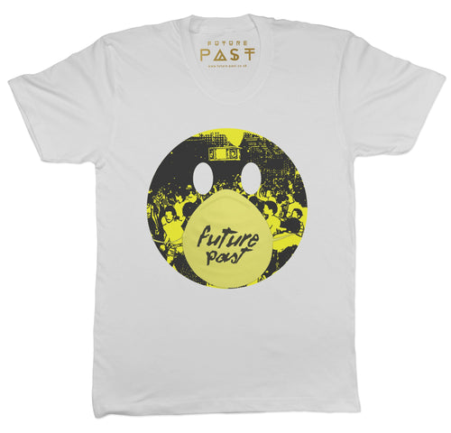 Smiley Rave Mask T-Shirt / White - Future Past Clothing