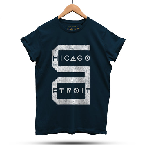 Detroit Chicago T-Shirt / Navy - Future Past Clothing