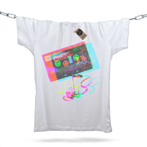 Acid House Glitch Mixtape T-Shirt / White - Future Past Clothing