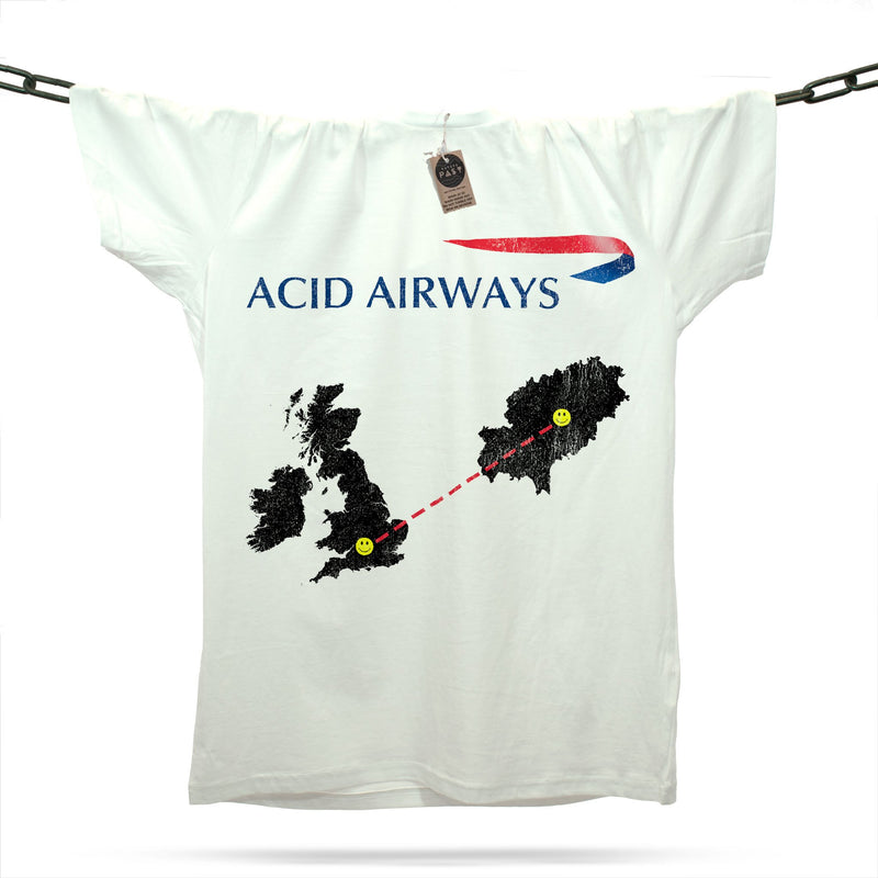 Acid House Airways Ibiza T-Shirt / White - Future Past Clothing