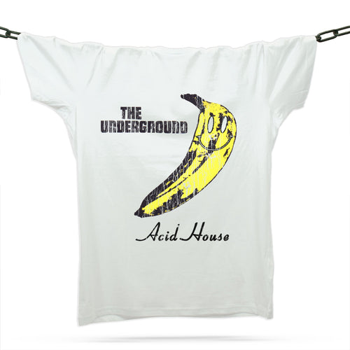 Smiley Underground Velvet T-Shirt / White - Future Past Clothing