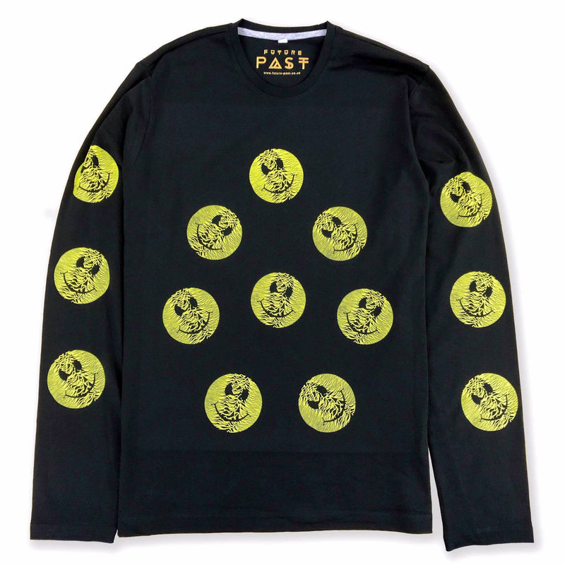Multi Pulsar Smiley Long Sleeve T-Shirt / Black - Future Past Clothing