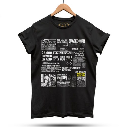 Acid House Headline Hysteria T-Shirt / Black - Future Past Clothing