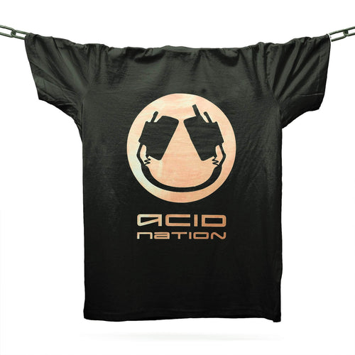 DJ Pierre's Acid Nation Gold Smiler T-Shirt / Black - Future Past Clothing