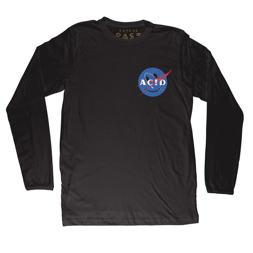 ACID Space Agency Long Sleeve T-Shirt / Black - Future Past Clothing