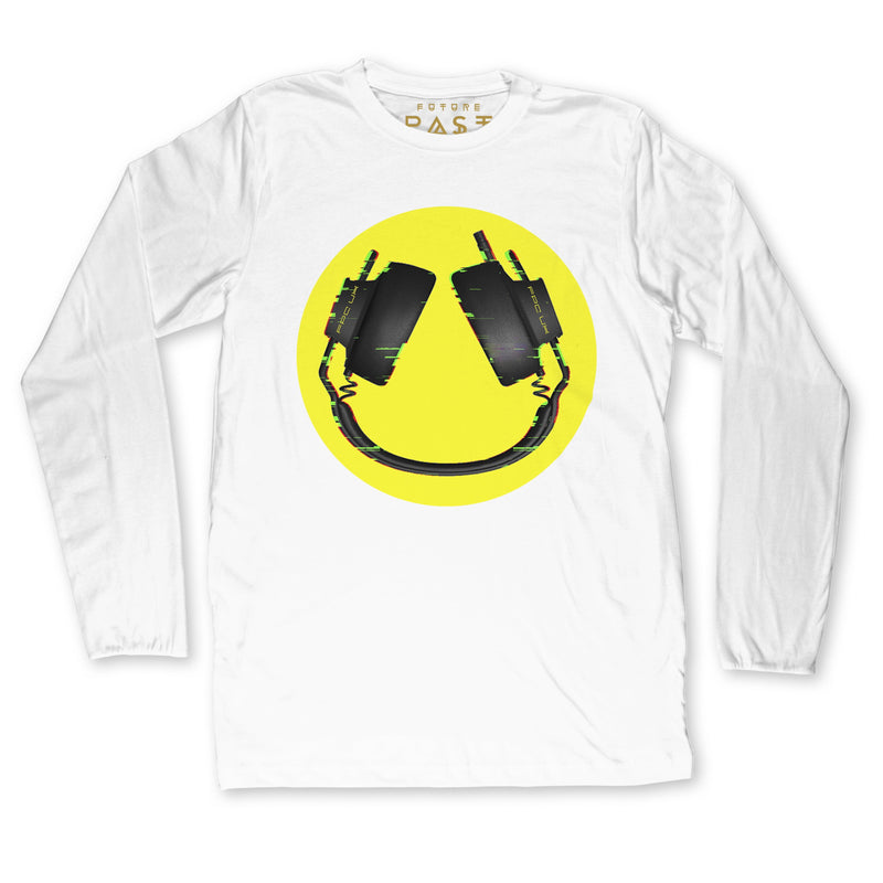 Headphone Smiley Long Sleeve T-Shirt / White - Future Past Clothing