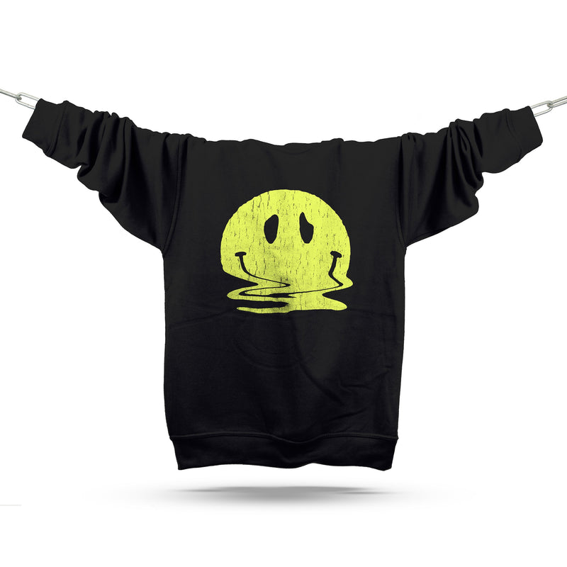Melted Smiley Premium Sweatshirt / Black - Future Past Clothing