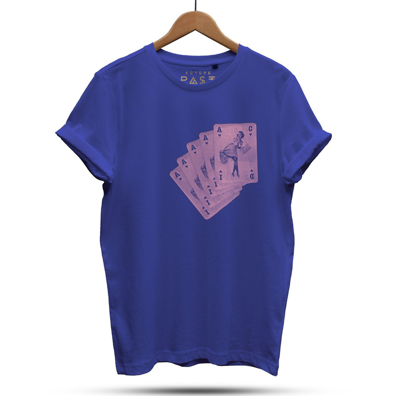 Stack Of Acid House Pinup Girls T-Shirt / Royal - Future Past Clothing