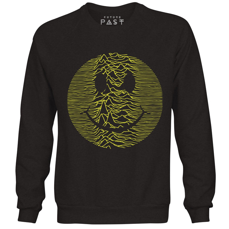 Smiley Acid Pulsar Premium Sweatshirt / Black - Future Past Clothing