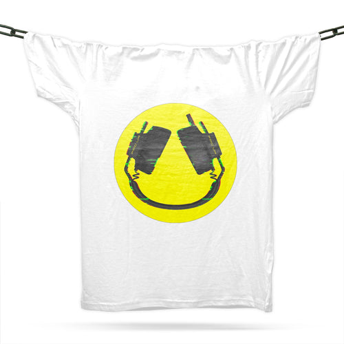 Headphone Smiley T-Shirt / White - Future Past Clothing