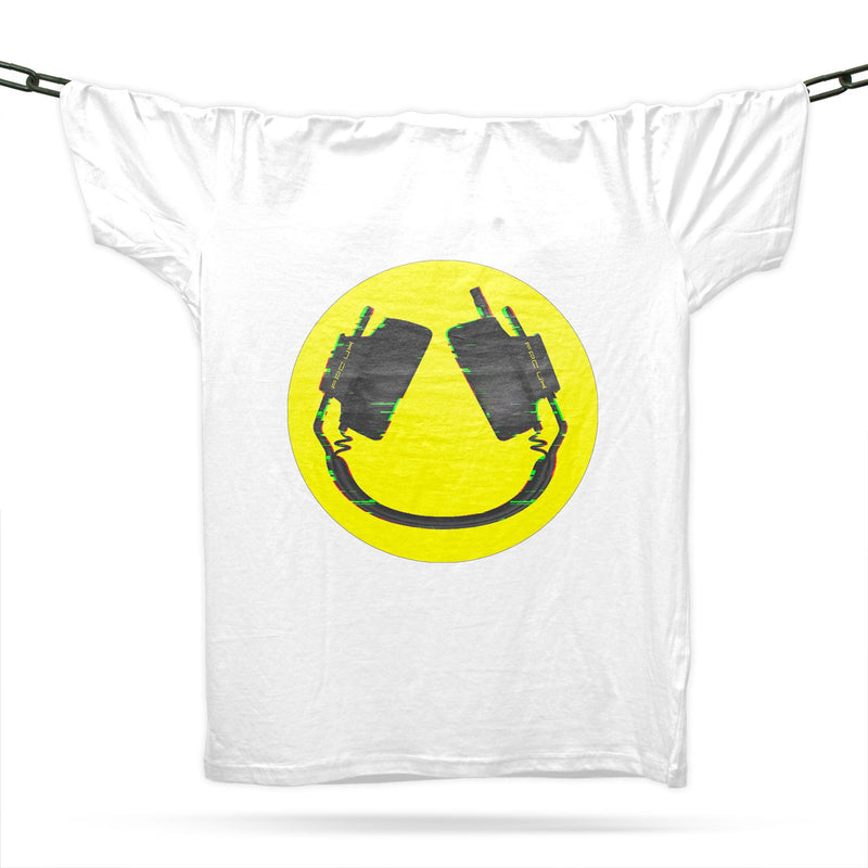 Headphone Smiler T-Shirt / White - Future Past Clothing