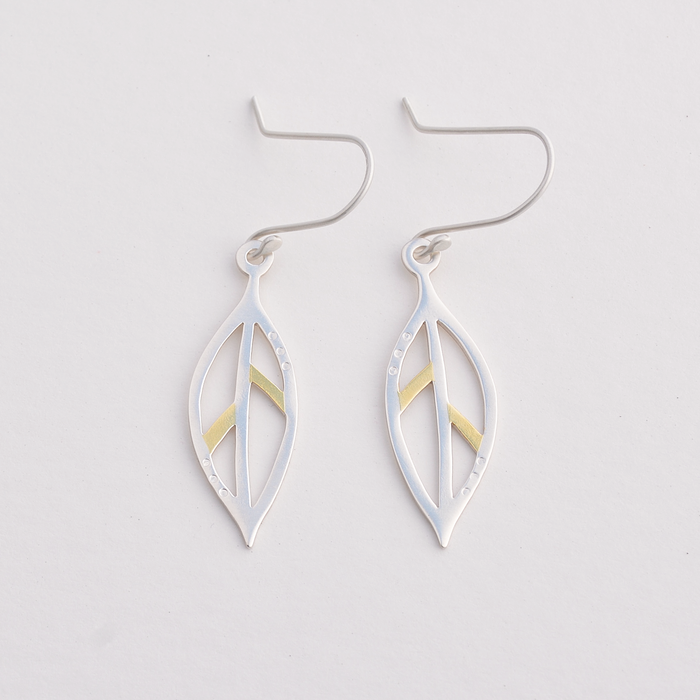 Bay leaf gold and silver earrings
