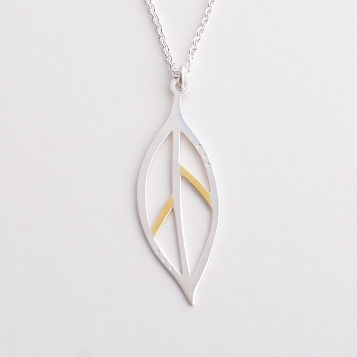 Bay leaf gold and silver necklace