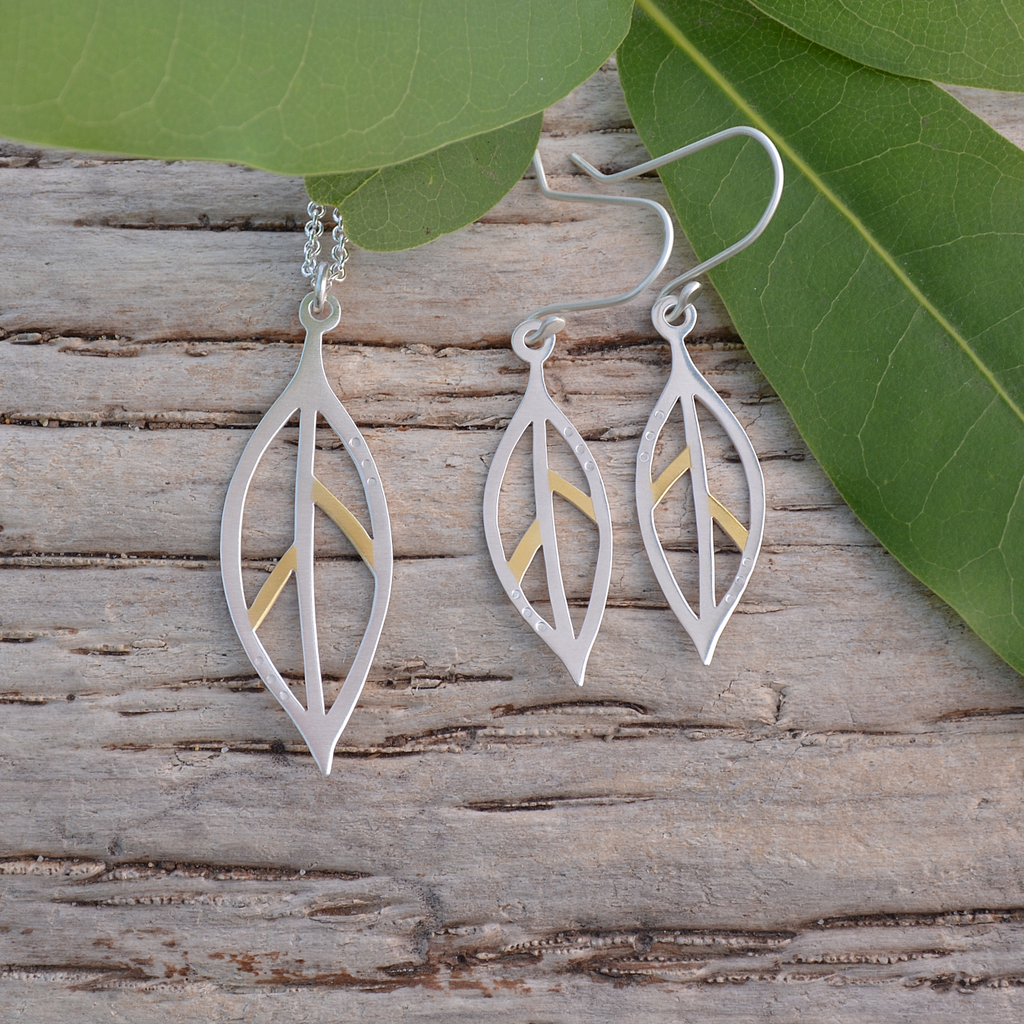 Bay leaf gold and silver jewelry set