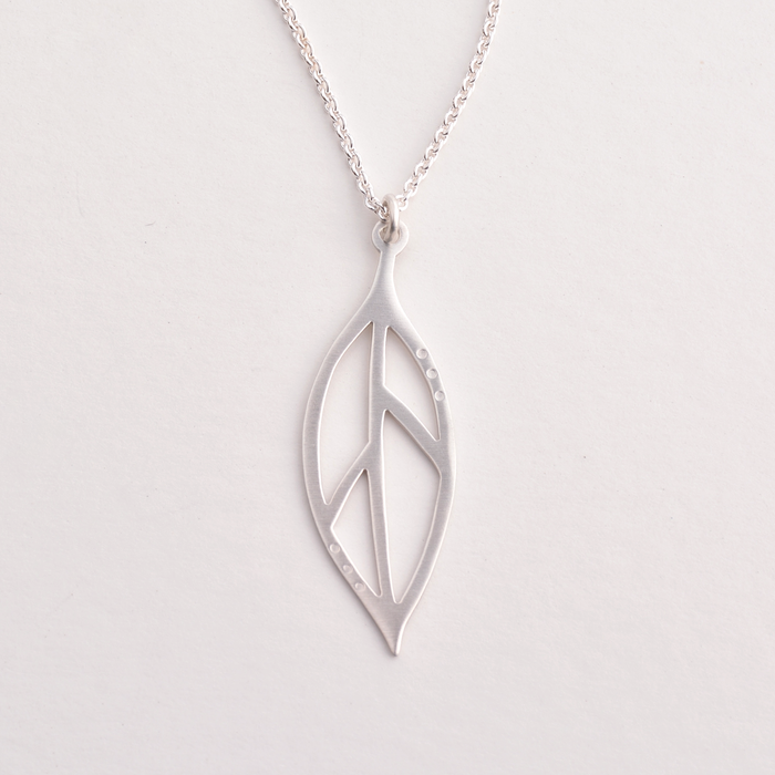 Bay leaf sterling silver necklace