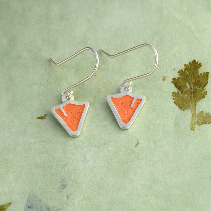 California Poppy Sterling Silver and Concrete Earrings