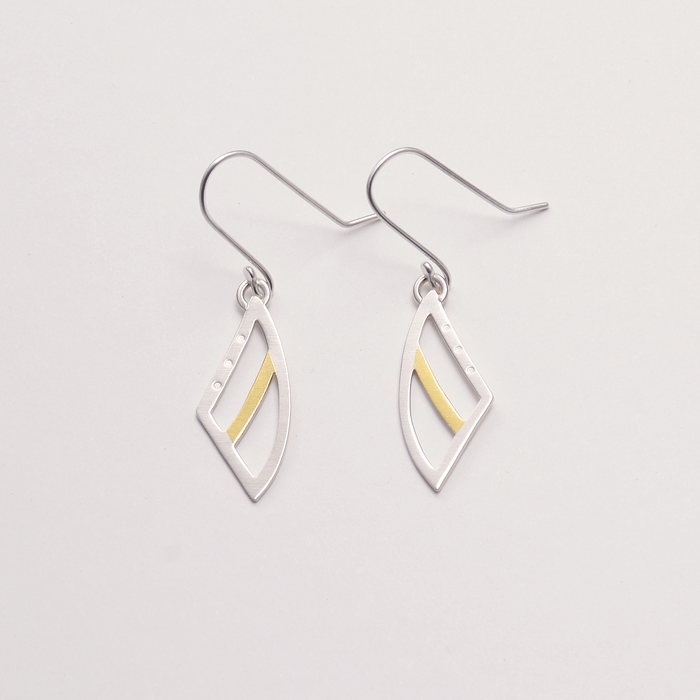 Lupine gold and silver earrings