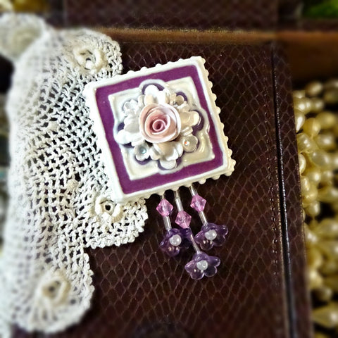 Plum Floral Tile Pin