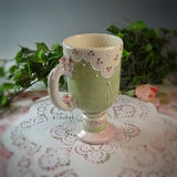 Pink & Green Lace Pedestal Mugs