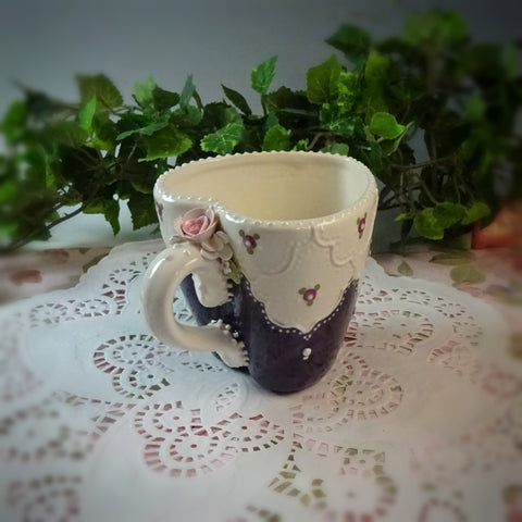 Rich Purple Lace Heart Mug