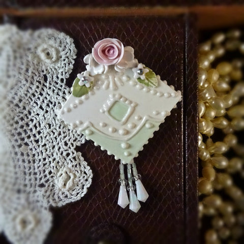 Deco Rose and Lace Pin