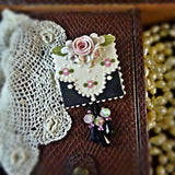 Vintage Black Lace and Pink Roses Pin