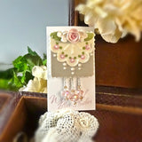 Taupe Lace and Roses Pin