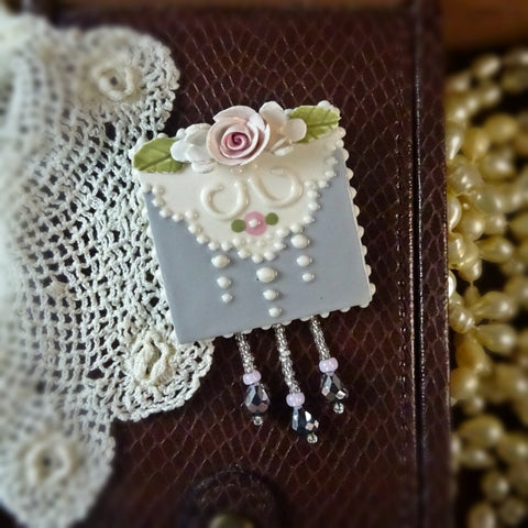Sterling Gray Lace and Rose Pin