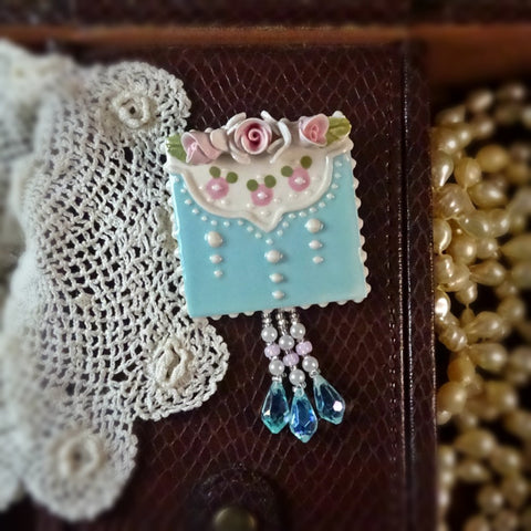 Pink Rosebud and Aqua Lace Pin