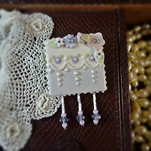 Soft Spring Flowers and Lace Pin