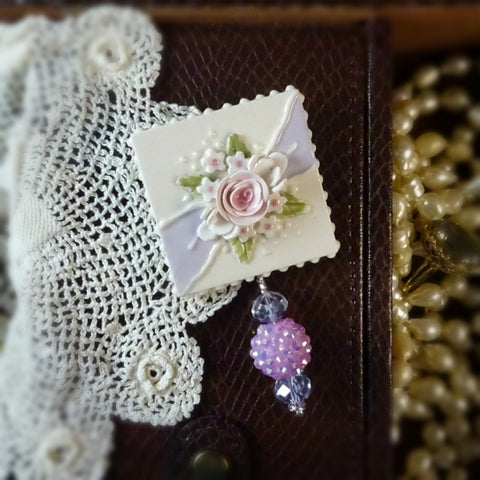 Lavender Ribbon and Rose Pin
