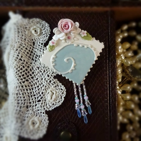 Antique Aqua Wave Pin