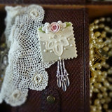 Taupe Handkerchief Lace and Pink Rose Pin