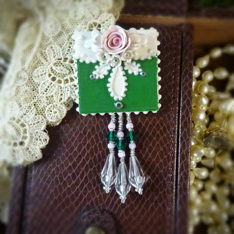 Vibrant Green and Lace Pin
