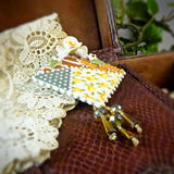 Earth Tone Patchwork Square Pin