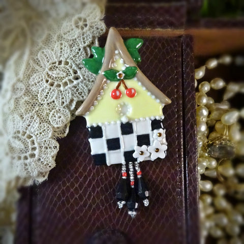 Cherries and Checker Birdhouse Pin