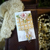 Golden Lace and Rose Pin