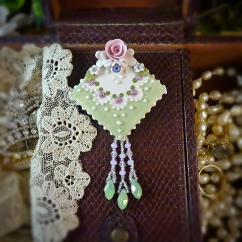 Green and Pink Rose Lace Pin