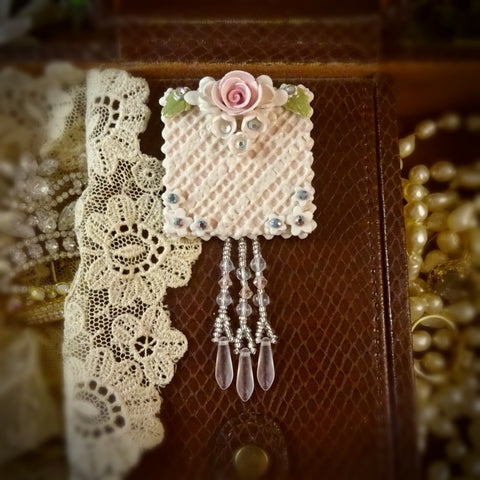 Baby Pink Lace and Rose Pin