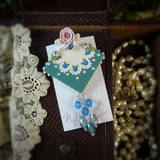 Cool Blue and Green Lace and Rose Pin
