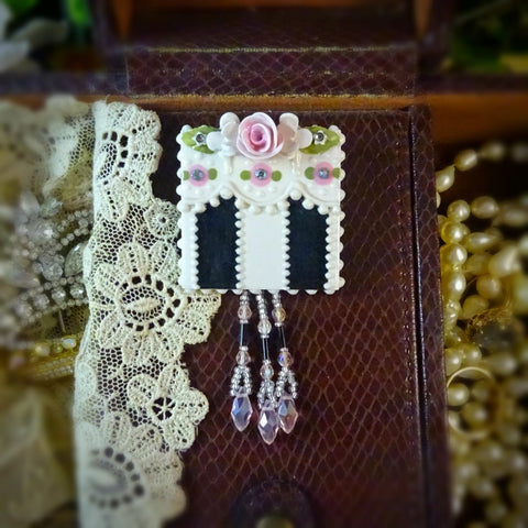 Victorian Black Stripe and Rose Lace Pin