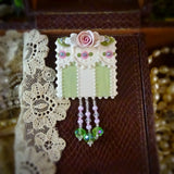 Green Victorian Stripe Rose Pin