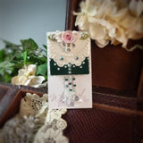 Rich Green Lace and Rose Pin