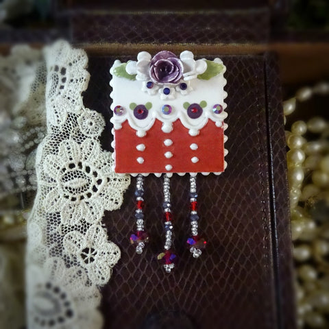 Exotic Red and Purple Rose Lace Pin