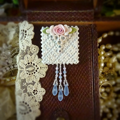 Something Blue Lace and Rose Pin