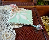 Brocade and Mint Green Pin
