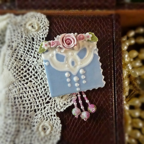 Blue Handkerchief and Roses Pin