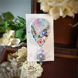 Blue And Violet Watercolor Rose Teardrop Pin