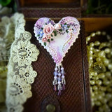 Lavender and Violet Watercolor Rose Heart Pin