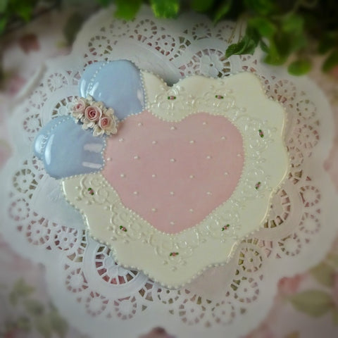 Pink & Blue Bow Heart Plate